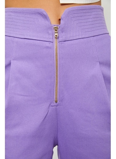 Setre Oranj Yüksek Bel Fermuarlı Pantolon Lila